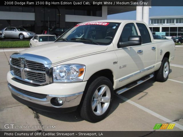bright white 2008 dodge ram 1500 big horn edition quad cab medium slate gray interior. Black Bedroom Furniture Sets. Home Design Ideas
