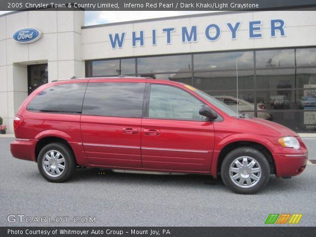 inferno red pearl 2005 chrysler town country limited dark khaki light graystone interior. Black Bedroom Furniture Sets. Home Design Ideas