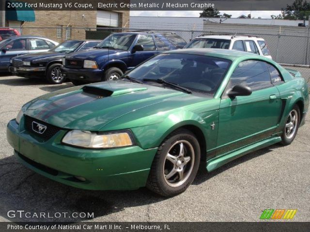 electric green metallic 2000 ford mustang v6 coupe. Black Bedroom Furniture Sets. Home Design Ideas