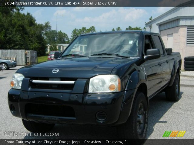 super black 2004 nissan frontier xe v6 crew cab 4x4 gray interior vehicle. Black Bedroom Furniture Sets. Home Design Ideas