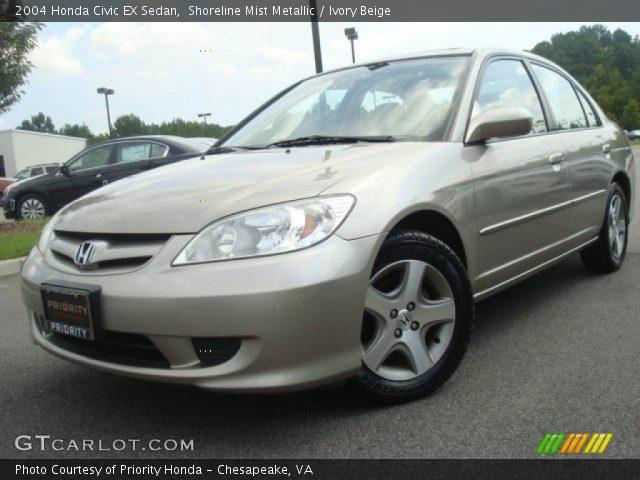 Shoreline Mist Metallic 2004 Honda Civic Ex Sedan Ivory Beige Interior