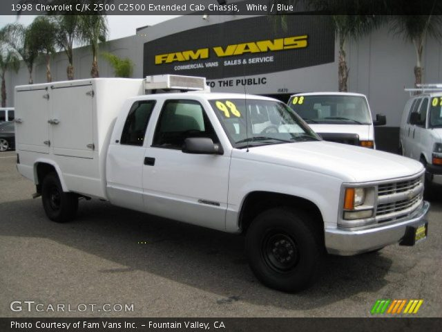 white 1998 chevrolet c k 2500 c2500 extended cab chassis blue interior. Black Bedroom Furniture Sets. Home Design Ideas