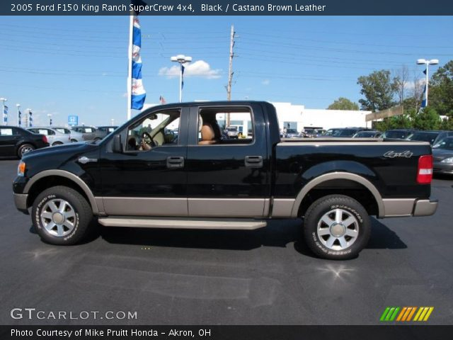 Black 2005 Ford F150 King Ranch Supercrew 4x4 Castano Brown Leather Interior