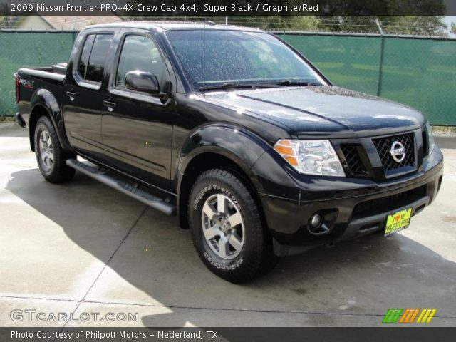 super black 2009 nissan frontier pro 4x crew cab 4x4 graphite red interior. Black Bedroom Furniture Sets. Home Design Ideas