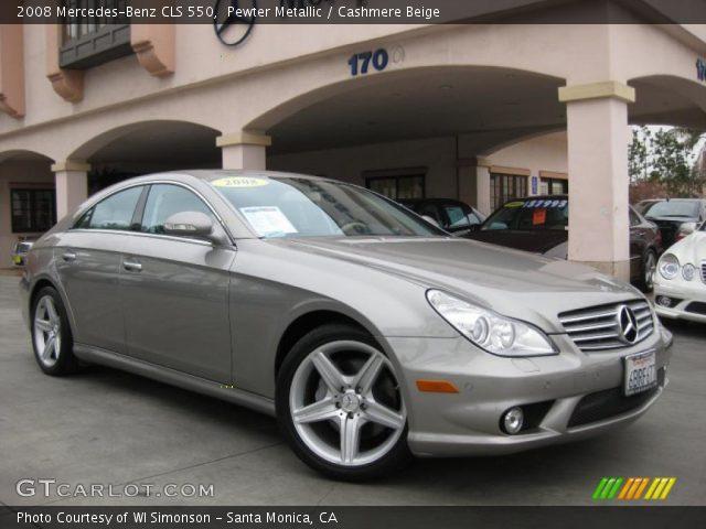 pewter metallic 2008 mercedes benz cls 550 cashmere beige interior vehicle. Black Bedroom Furniture Sets. Home Design Ideas