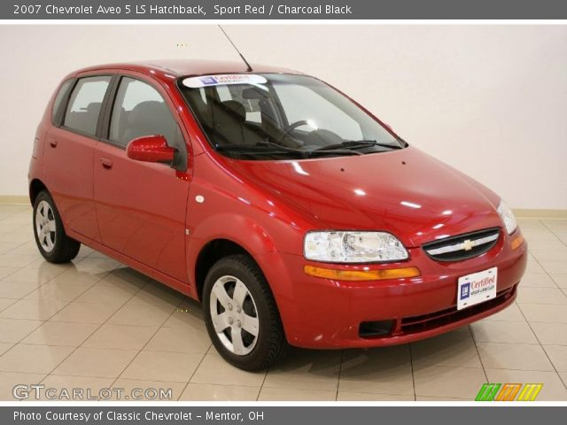 sport red 2007 chevrolet aveo 5 ls hatchback charcoal. Black Bedroom Furniture Sets. Home Design Ideas