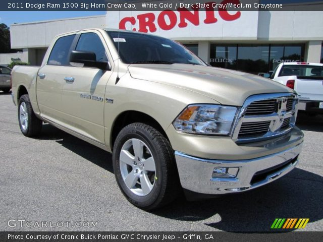 white gold 2011 dodge ram 1500 big horn crew cab dark slate gray medium graystone interior. Black Bedroom Furniture Sets. Home Design Ideas