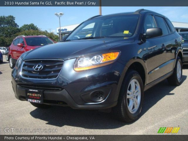pacific blue pearl 2010 hyundai santa fe gls gray interior vehicle archive. Black Bedroom Furniture Sets. Home Design Ideas