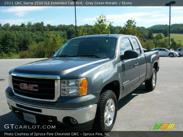gray green metallic 2011 gmc sierra 1500 sle extended cab 4x4 ebony interior. Black Bedroom Furniture Sets. Home Design Ideas