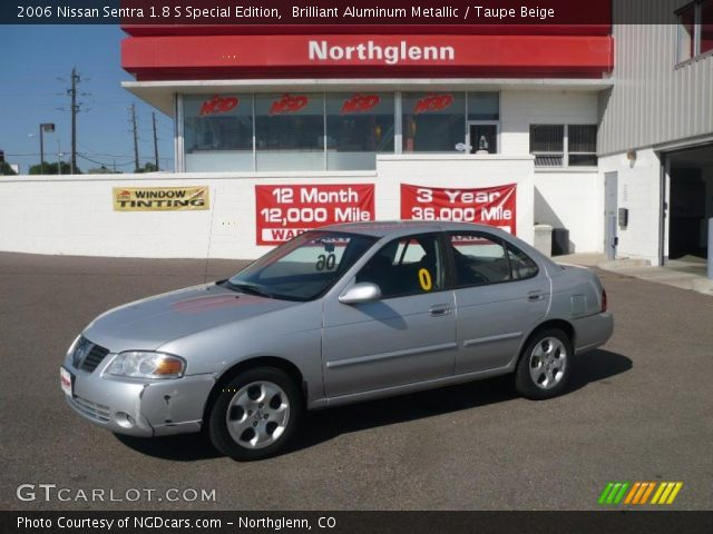 brilliant aluminum metallic 2006 nissan sentra 1 8 s special edition taupe beige interior. Black Bedroom Furniture Sets. Home Design Ideas