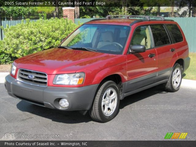 cayenne red pearl 2005 subaru forester 2 5 x beige interior vehicle archive. Black Bedroom Furniture Sets. Home Design Ideas