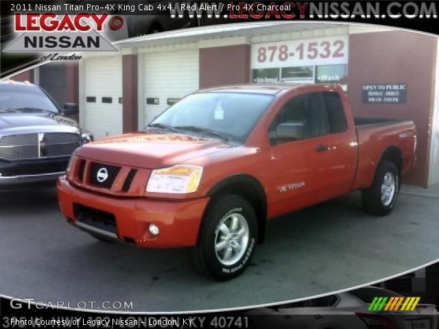 red alert 2011 nissan titan pro 4x king cab 4x4 pro 4x charcoal interior. Black Bedroom Furniture Sets. Home Design Ideas