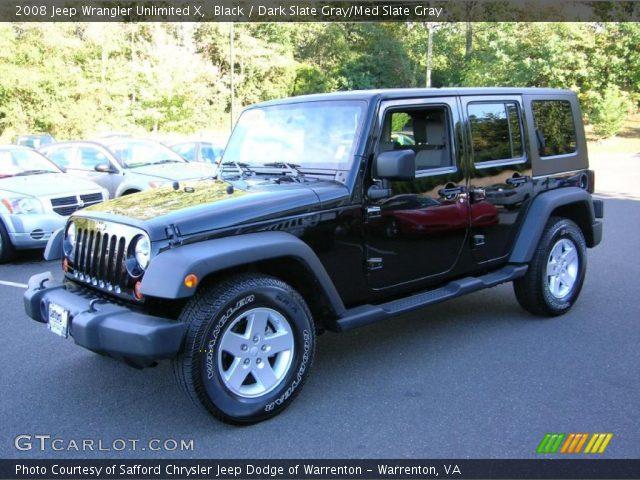 Black 2008 Jeep Wrangler Unlimited X Dark Slate Gray Med Slate Gray Interior