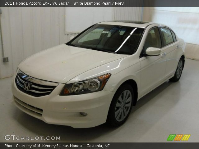 White Diamond Pearl 2011 Honda Accord Ex L V6 Sedan