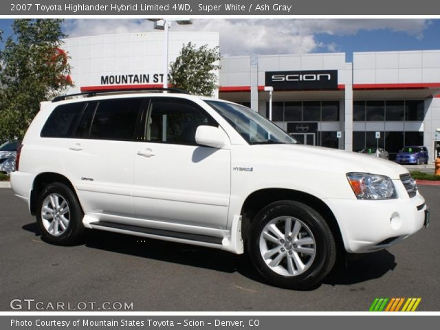 super white 2007 toyota highlander hybrid limited 4wd ash gray interior. Black Bedroom Furniture Sets. Home Design Ideas