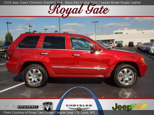 blaze red crystal pearl 2009 jeep grand cherokee overland 4x4 saddle brown royale leather. Black Bedroom Furniture Sets. Home Design Ideas