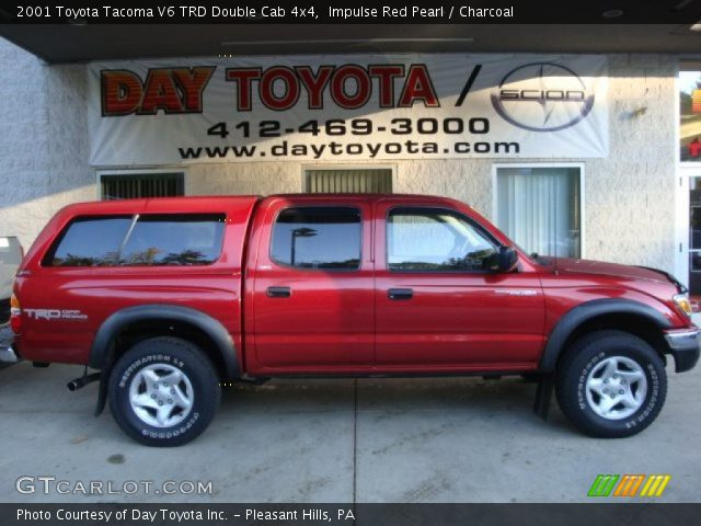 impulse red pearl 2001 toyota tacoma v6 trd double cab 4x4 charcoal interior. Black Bedroom Furniture Sets. Home Design Ideas