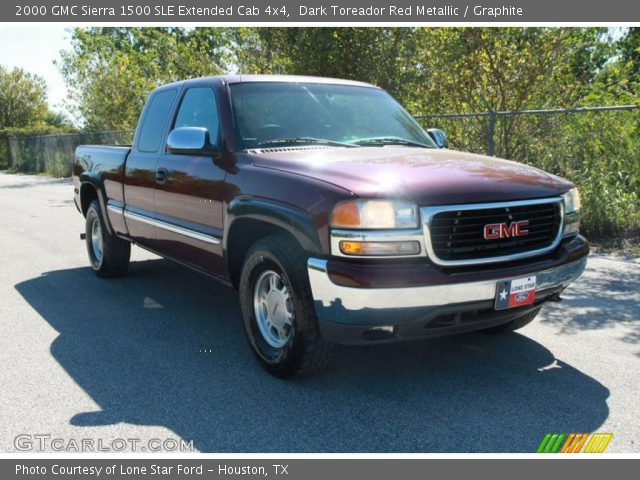 dark toreador red metallic 2000 gmc sierra 1500 sle extended cab 4x4 graphite interior. Black Bedroom Furniture Sets. Home Design Ideas
