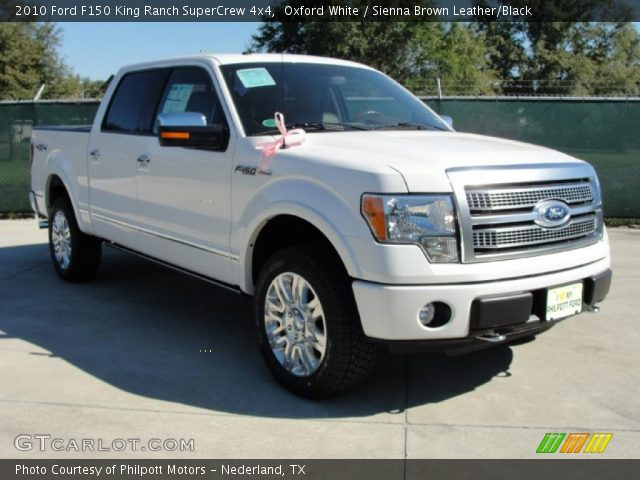 Oxford White 2010 Ford F150 King Ranch Supercrew 4x4 Sienna Brown Leather Black Interior