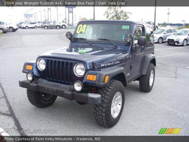 Patriot Blue Pearl 2004 Jeep Wrangler Rubicon 4x4 Dark Slate Gray Interior