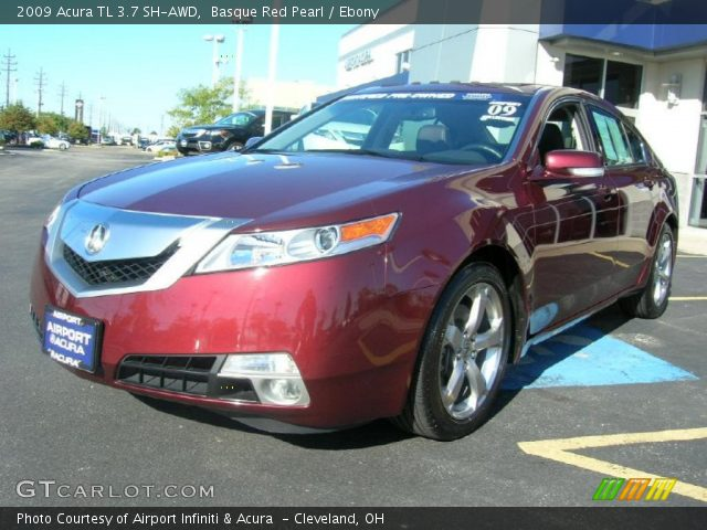 basque red pearl 2009 acura tl 3 7 sh awd ebony interior vehicle archive. Black Bedroom Furniture Sets. Home Design Ideas
