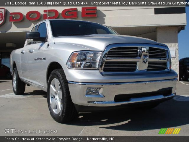bright silver metallic 2011 dodge ram 1500 big horn quad cab 4x4 dark slate gray medium. Black Bedroom Furniture Sets. Home Design Ideas