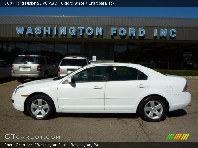 oxford white 2007 ford fusion se v6 awd charcoal black. Black Bedroom Furniture Sets. Home Design Ideas
