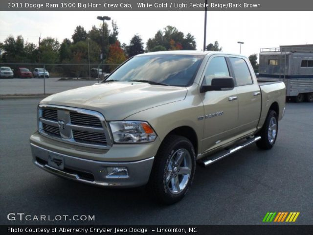 white gold 2011 dodge ram 1500 big horn crew cab light pebble beige bark brown interior. Black Bedroom Furniture Sets. Home Design Ideas