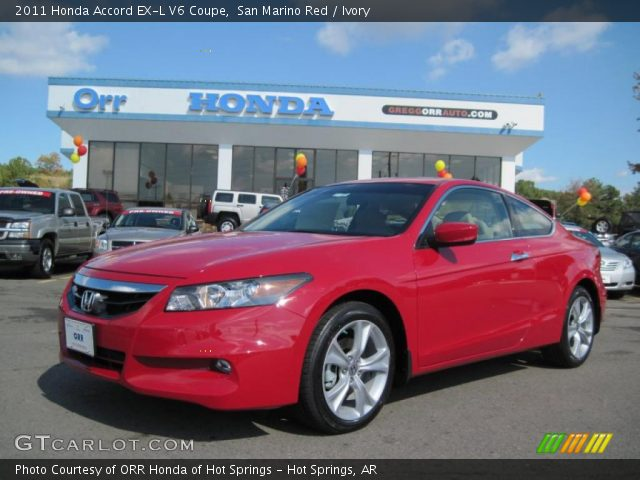 san marino red 2011 honda accord ex l v6 coupe ivory interior vehicle. Black Bedroom Furniture Sets. Home Design Ideas