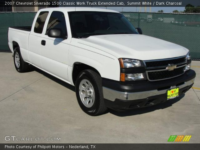 summit white 2007 chevrolet silverado 1500 classic work truck extended cab dark charcoal. Black Bedroom Furniture Sets. Home Design Ideas