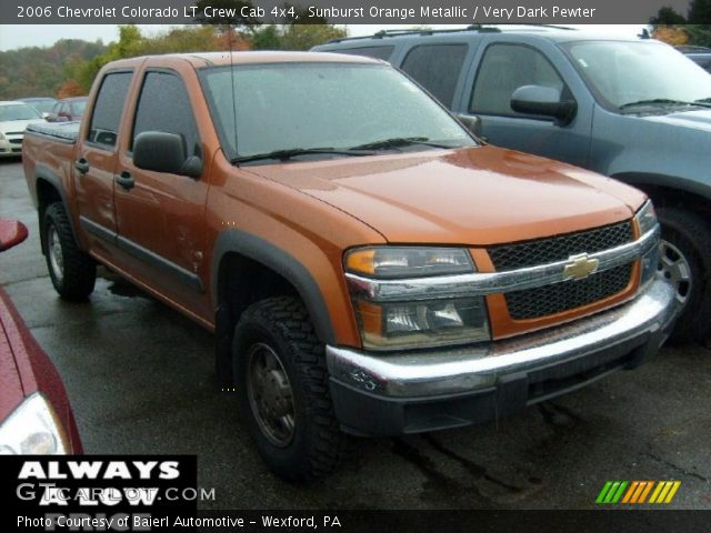 sunburst orange metallic 2006 chevrolet colorado lt crew cab 4x4 very dark pewter interior. Black Bedroom Furniture Sets. Home Design Ideas