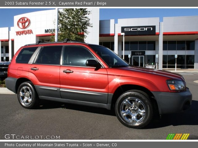 cayenne red pearl 2003 subaru forester 2 5 x beige interior vehicle archive. Black Bedroom Furniture Sets. Home Design Ideas