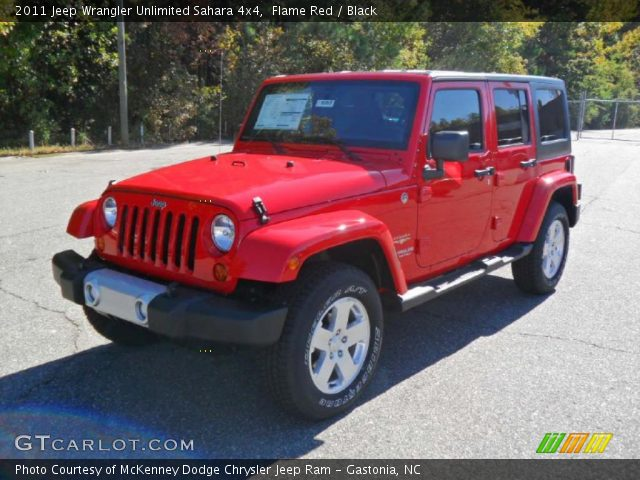Flame red 2011 jeep wrangler unlimited sahara 4x4 - Jeep wrangler red interior for sale ...