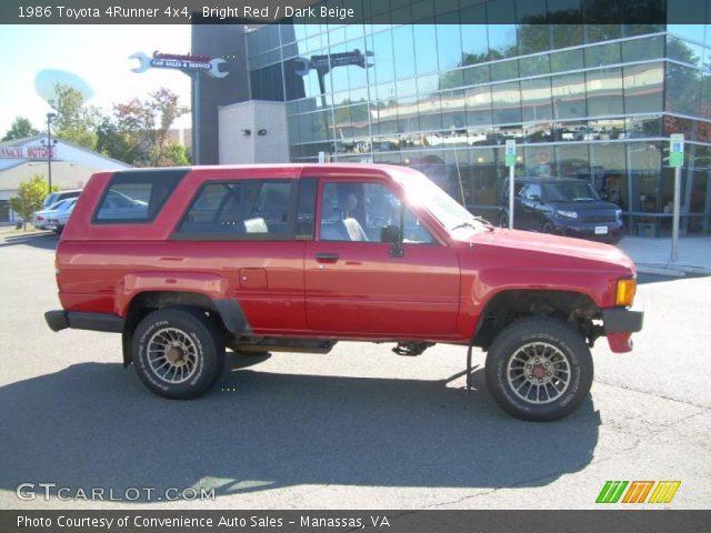 bright red 1986 toyota 4runner 4x4 dark beige interior vehicle archive. Black Bedroom Furniture Sets. Home Design Ideas