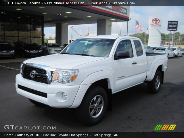 super white 2011 toyota tacoma v6 prerunner access cab graphite gray interior. Black Bedroom Furniture Sets. Home Design Ideas