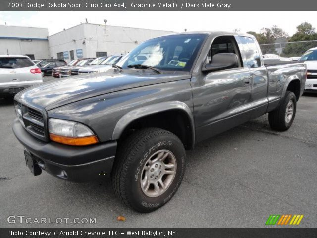 Graphite Metallic 2003 Dodge Dakota Sport Club Cab 4x4 with Dark Slate ...