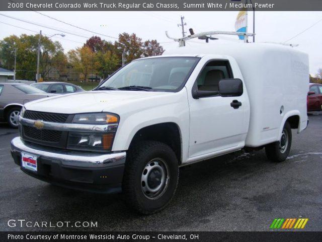summit white 2008 chevrolet colorado work truck regular cab chassis medium pewter interior. Black Bedroom Furniture Sets. Home Design Ideas