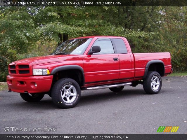 flame red 2001 dodge ram 1500 sport club cab 4x4 mist. Black Bedroom Furniture Sets. Home Design Ideas
