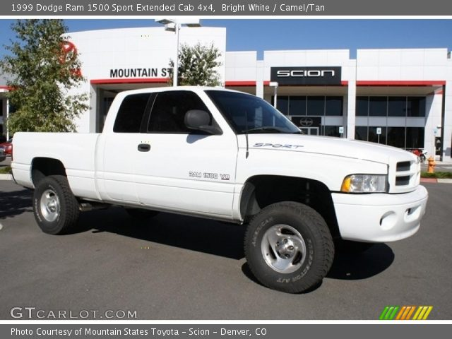 bright white 1999 dodge ram 1500 sport extended cab 4x4 camel tan interior. Black Bedroom Furniture Sets. Home Design Ideas