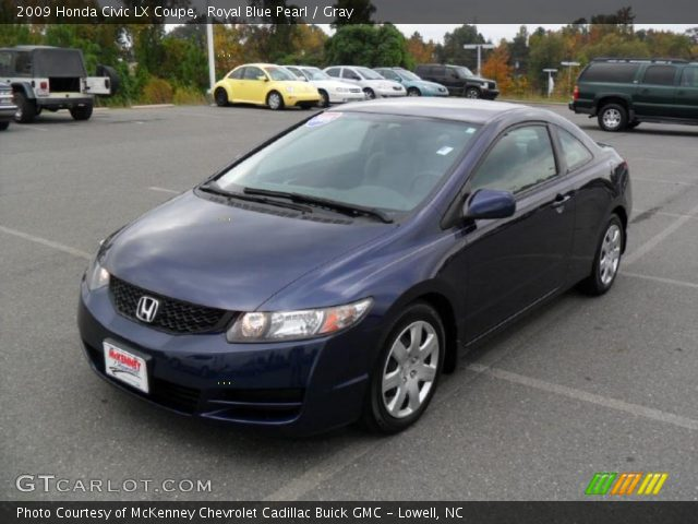 royal blue pearl 2009 honda civic lx coupe gray
