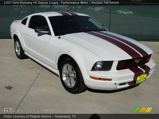 performance white 2007 ford mustang v6 deluxe coupe medium parchment interior. Black Bedroom Furniture Sets. Home Design Ideas