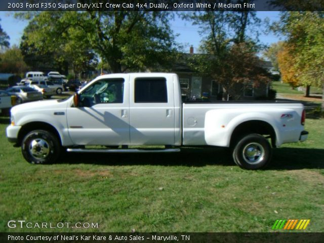 oxford white 2003 ford f350 super duty xlt crew cab 4x4 dually medium flint interior. Black Bedroom Furniture Sets. Home Design Ideas