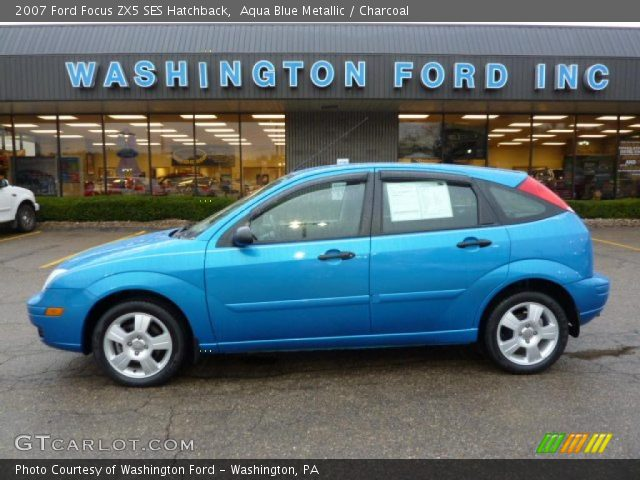 aqua blue metallic 2007 ford focus zx5 ses hatchback. Black Bedroom Furniture Sets. Home Design Ideas
