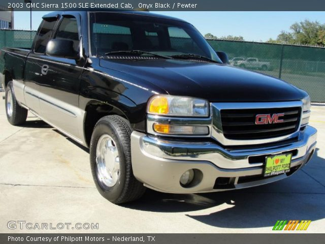 onyx black 2003 gmc sierra 1500 sle extended cab pewter interior vehicle. Black Bedroom Furniture Sets. Home Design Ideas