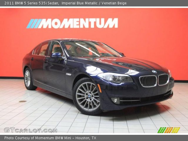 imperial blue metallic 2011 bmw 5 series 535i sedan venetian beige interior. Black Bedroom Furniture Sets. Home Design Ideas