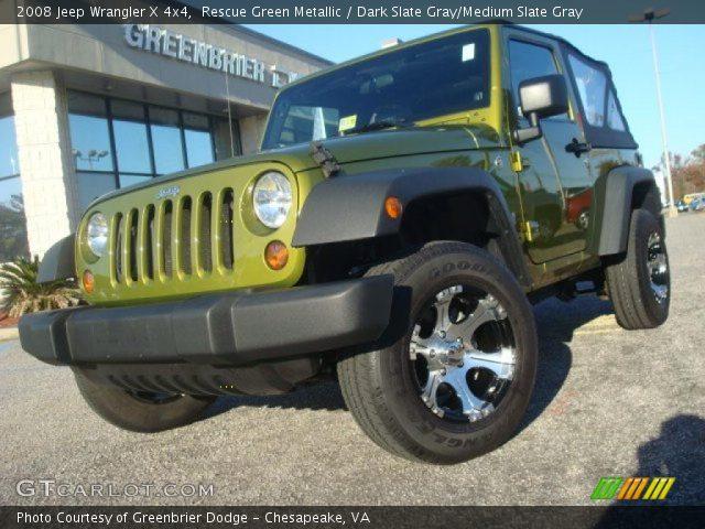 Rescue Green Metallic 2008 Jeep Wrangler X 4x4 Dark Slate Gray Medium Slate Gray Interior