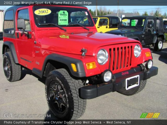 Flame red 2002 jeep wrangler sport 4x4 camel beige - Jeep wrangler red interior for sale ...