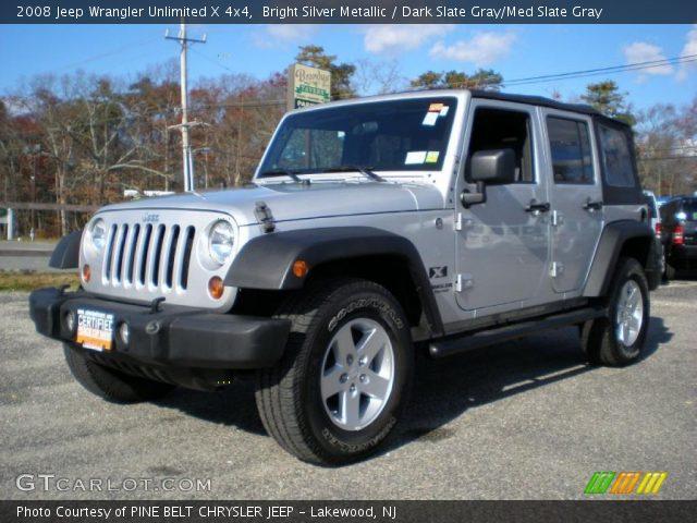Bright Silver Metallic 2008 Jeep Wrangler Unlimited X 4x4 Dark Slate Gray Med Slate Gray