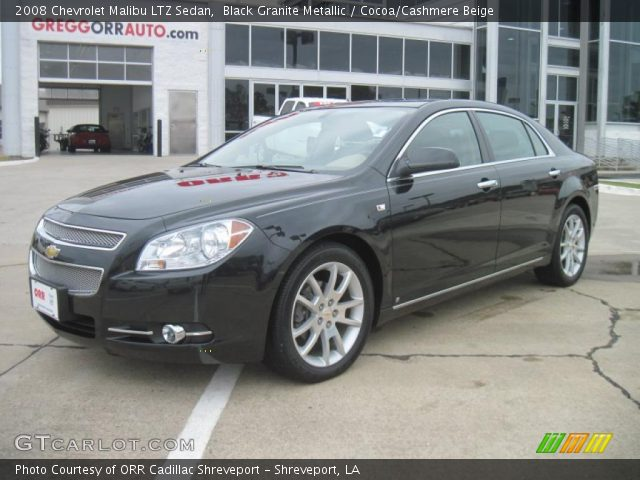 black granite metallic 2008 chevrolet malibu ltz sedan cocoa cashmere beige interior. Black Bedroom Furniture Sets. Home Design Ideas