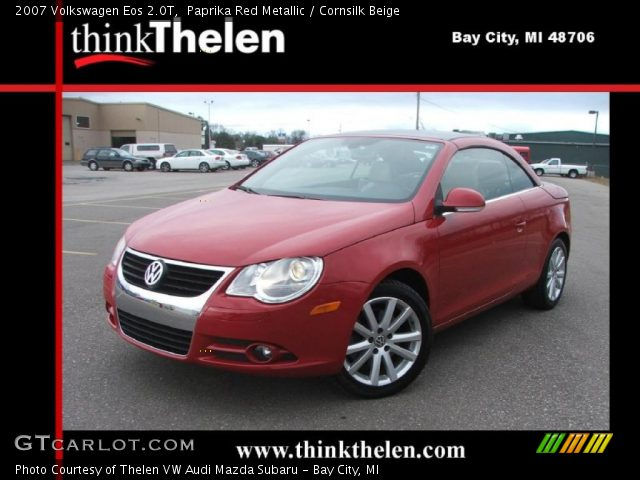 paprika red metallic 2007 volkswagen eos 2 0t cornsilk beige interior. Black Bedroom Furniture Sets. Home Design Ideas